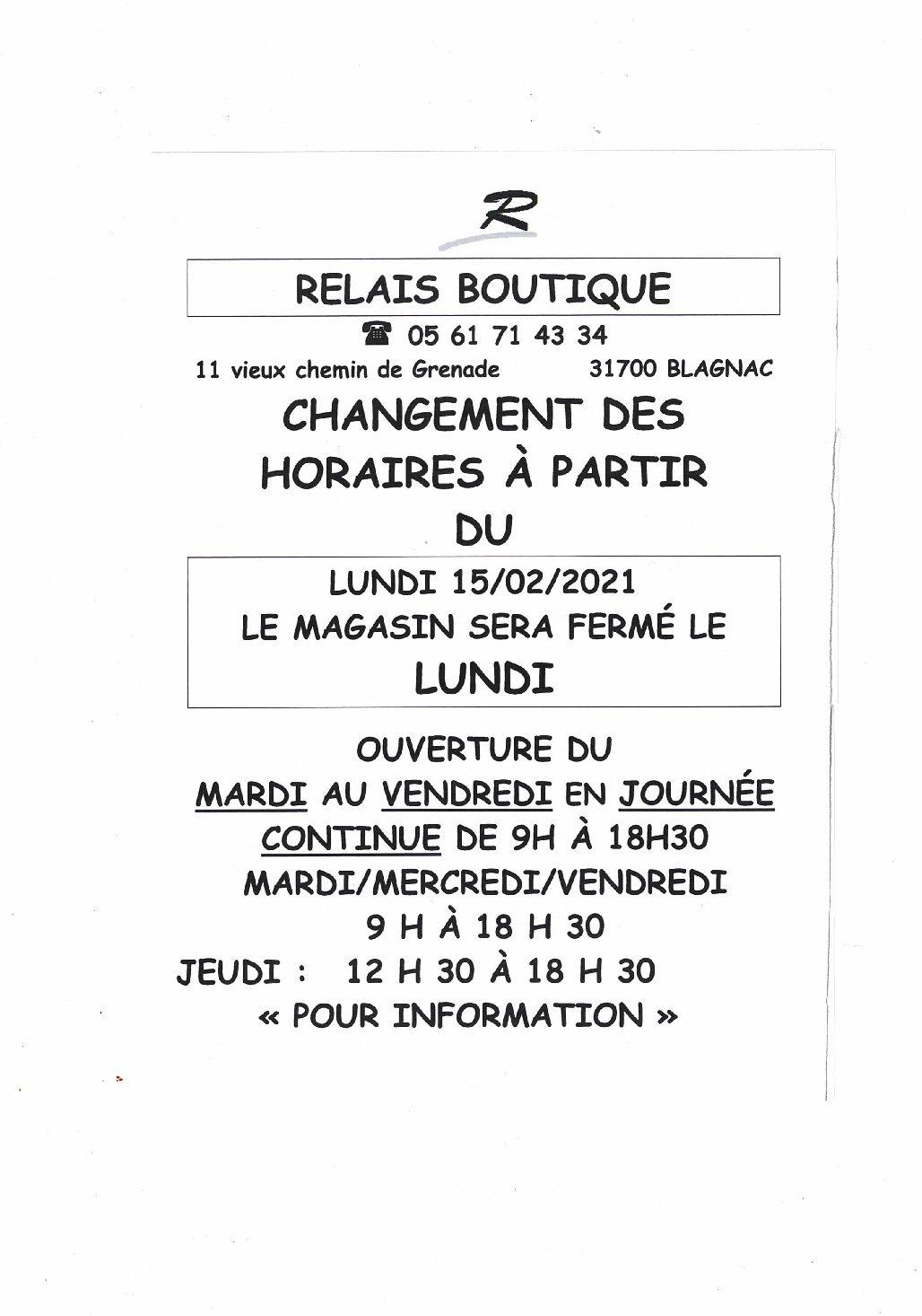 RELAIS BOUTIQUE CHANGE   SES JOURS et HEURES             D 'OUVERTURE: